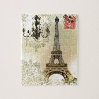 Torre Eiffel feminino chique de Paris do laço Quebra-cabeça
