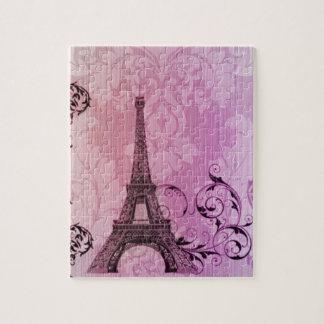 torre Eiffel feminino de Paris do damasco Quebra-cabeça