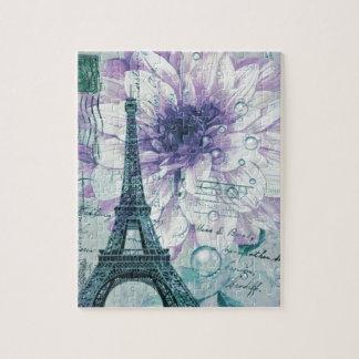 torre Eiffel floral roxa de Paris do vintage Quebra-cabeça