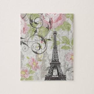 torre Eiffel francesa floral do país do chique Quebra-cabeça