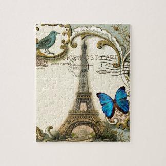 torre Eiffel gatsby de Paris do vintage dos Quebra-cabeça