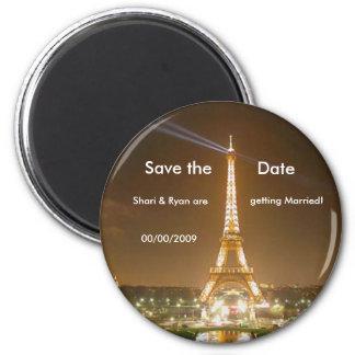 torre Eiffel, imã salve a data Ímã Redondo 5.08cm
