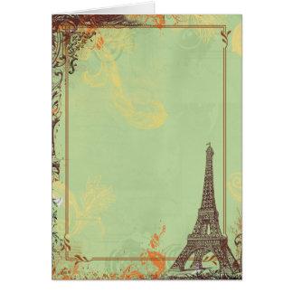 Torre Eiffel no verde Cartão Comemorativo