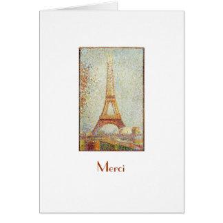 Torre Eiffel, obrigado de Seurat você cartão de