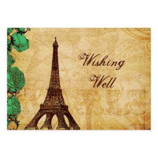 torre Eiffel Paris do verde esmeralda que deseja o Cartao De Visita