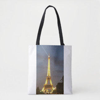 Torre Eiffel Paris na noite Bolsas Tote