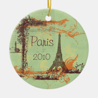 Torre Eiffel Paris Ornamento De Cerâmica Redondo
