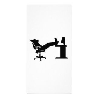 Trabalhador de escritório de relaxamento preguiços cartão com fotos