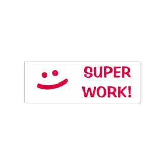 """TRABALHO SUPER!"" + Selo de sorriso do professor Carimbo Auto Entintado"