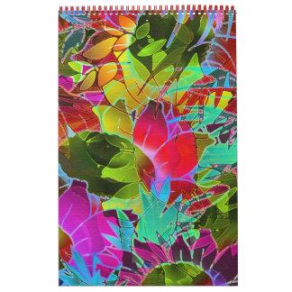 Trabalhos de arte abstratos florais do calendário
