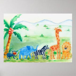Trabalhos de arte do safari dos animais selvagens posteres