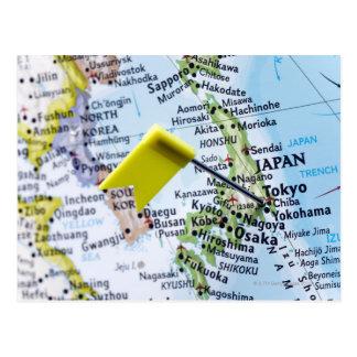 Trace o pino colocado em Tokyo, Japão no mapa, Cartão Postal