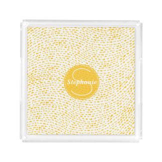 Traços brancos e amarelos do monograma bandeja de acrílico