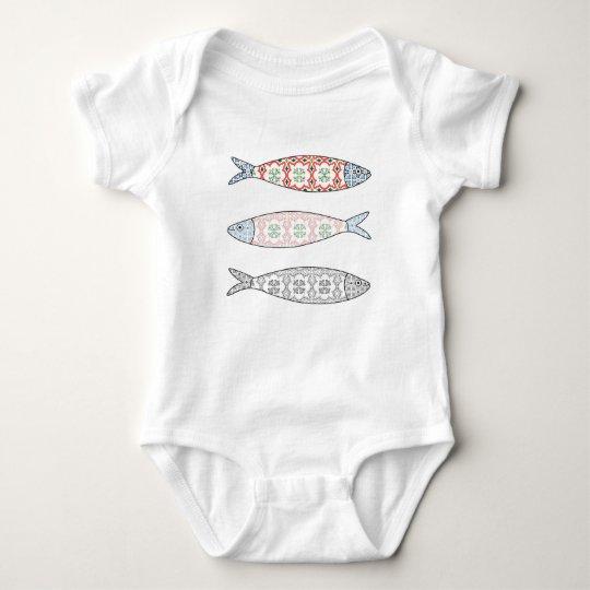 Traditional Portuguese icon. Colored sardines Camisetas