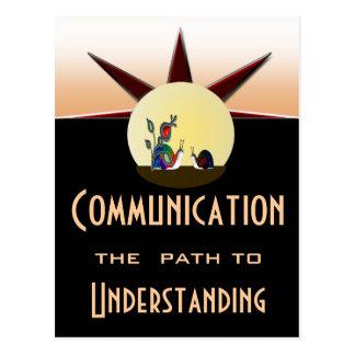 Trajeto de comunicação à compreensão cartão postal