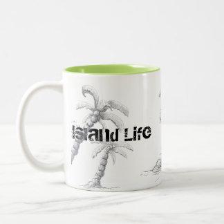 Tranquilo - caneca da palmeira da vida da praia