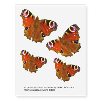 Transferências da borboleta de pavão e tatuagens