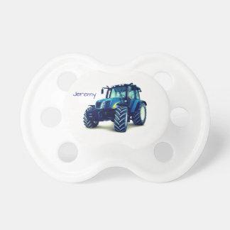 Trator de fazenda azul personalizado chupeta