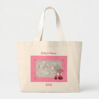 Trator do rosa de bebê com o saco da foto dos balõ sacola tote jumbo