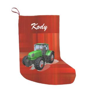 Trator verde moderno personalizado no vermelho bota de natal pequena