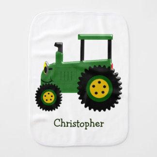 Trator verde personalizado paninho para bebês