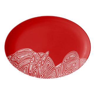 Travessa De Porcelana Agitação de Scribbleprint - vermelho