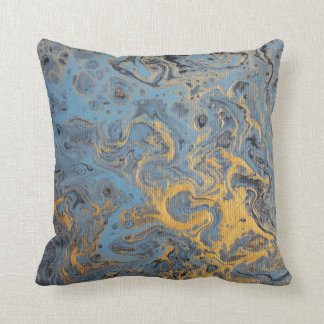 Travesseiro abstrato do azul & do ouro almofada