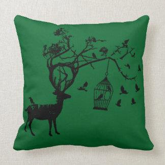 Travesseiro abstrato do verde do Natal do pássaro Almofada