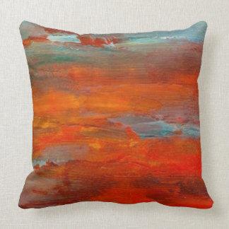 Travesseiro azul alaranjado abstrato da cena da almofada