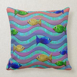 Travesseiro azul roxo abstrato da decoração dos almofada