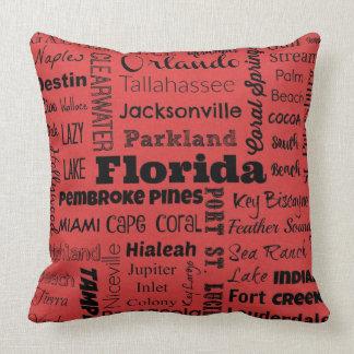 Travesseiro da tipografia das cidades de Florida Almofada