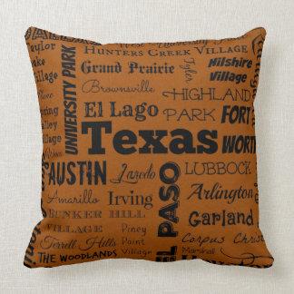 Travesseiro das cidades de Texas na laranja/preto Almofada