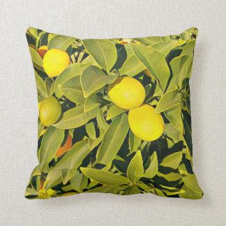 Travesseiro decorativo amarelo e verde da árvore almofada