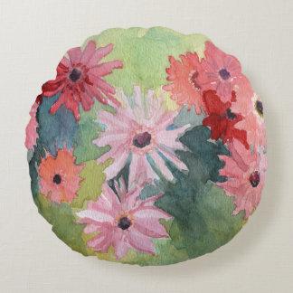 Travesseiro decorativo cor-de-rosa e verde do almofada redonda