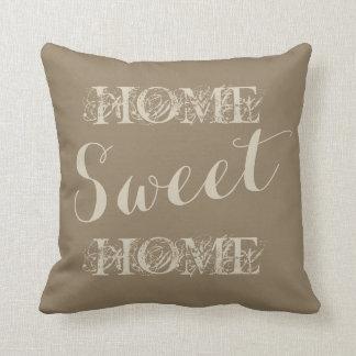 Travesseiro decorativo home doce da casa bege à