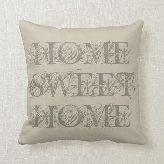 Travesseiro decorativo home doce da casa bege