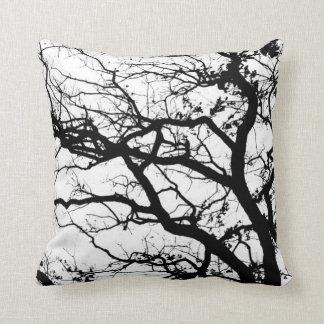 Travesseiro decorativo preto e branco da paisagem