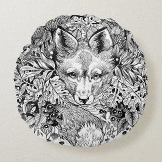 """Travesseiro decorativo preto e branco do Fox Almofada Redonda"