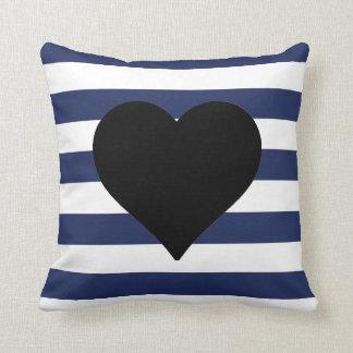 Travesseiro decorativo preto listrado azul e branc
