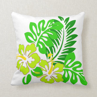 Travesseiro decorativo tropical da flor do verde almofada
