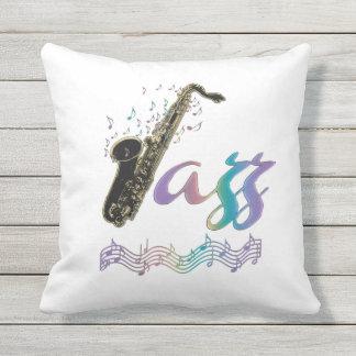 Travesseiro exterior da música do saxofone do jazz almofada para ambientes externos