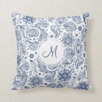 Travesseiro floral do monograma do teste padrão do almofada