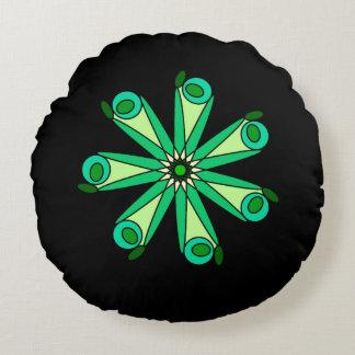 Travesseiro geométrico preto verde da estrela almofada redonda
