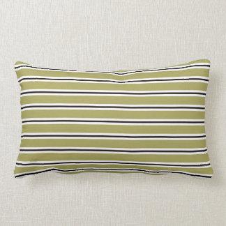 Travesseiro listrado preto e branco da verde almofada lombar