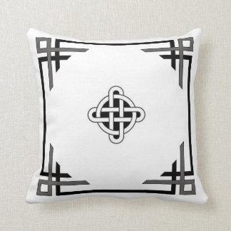 Travesseiro no branco com afiação preta