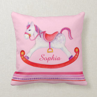 Travesseiro nomeado rosa dos miúdos da aguarela do almofada