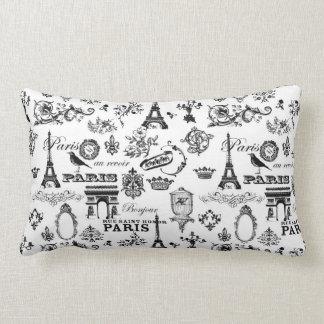 Travesseiro parisiense, preto e branco almofada lombar