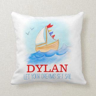 Travesseiro personalizado do nome do barco de
