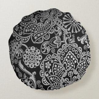 Travesseiro preto e branco almofada redonda
