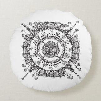 Travesseiro preto e branco da ilustração do almofada redonda